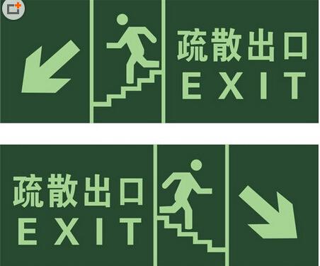 """2,安全出口疏散标志和疏散门的正上方应采用""""安全出口""""作为指示"""